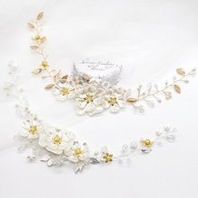 bride hair ornaments pearl crystal white flowers wedding accessories hairpins barrette  bridesmaid dress tiara H031