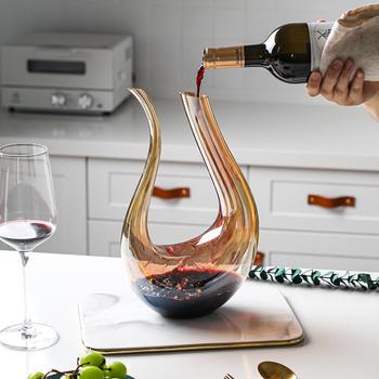 Karafka do wina Home Bar w kształcie litery U kolorowe przezroczyste szkło kryształowe karafka Wineware kreatywne europejskie wino butelka dzbanek pojemnik tanie i dobre opinie SSGP Ekologiczne Decanters Karafki 10 cm Przybory barowe