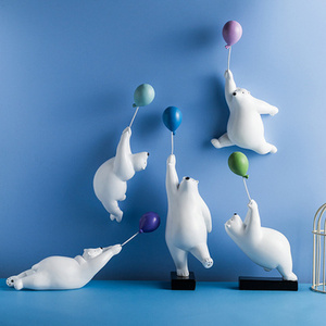 Воздушный шар, белый медведь, украшение на стену, скульптура животных, статуэтка медведя, садовый цветочный горшок, Декор для дома, гостиной,...
