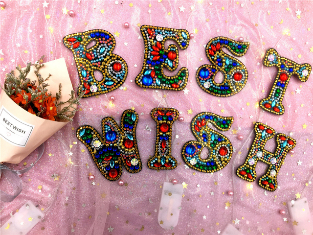 HUACAN Diamond Painting Keychain Letters Special Shaped Diamond Embroidery Keyring Love Mosaic Accessories