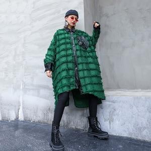 Image 3 - [EAM] Women Green Tassels Big Size Long Blouse New Lapel Long Sleeve Loose Fit Shirt Fashion Tide Spring Autumn 2020 1D618