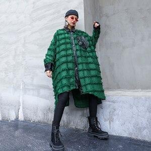 Image 3 - [EAM] נשים ירוק גדילים גדול גודל ארוך חולצה חדש דש ארוך שרוול Loose Fit חולצה אופנה גאות באביב סתיו 2020 1D618