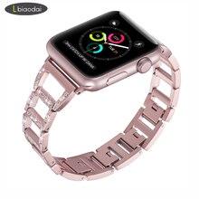 Pulseira de diamante para apple watch band 44mm/38mm apple watch 4/3/2/1 iwatch banda 42mm/40mm link pulseira pulseira de aço inoxidávelPulseira do relógio