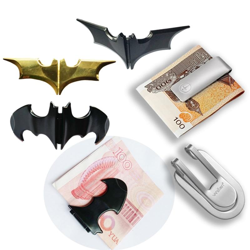 Metal para kıskacı altın cüzdan erkekler kadınlar para dolar banknot klip yarasa adam kimlik kredi kart tutucu taraflı cüzdan manyetik para klipleri
