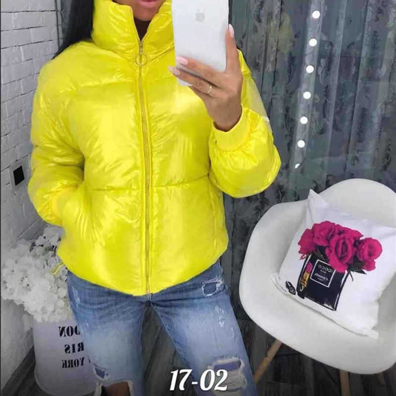 Short Shiny Winter Jacket Women Parka Coat Down 2019 Plus Size Female Warm Thick Clothing Outerwear Puffer Fall Solid Outwear
