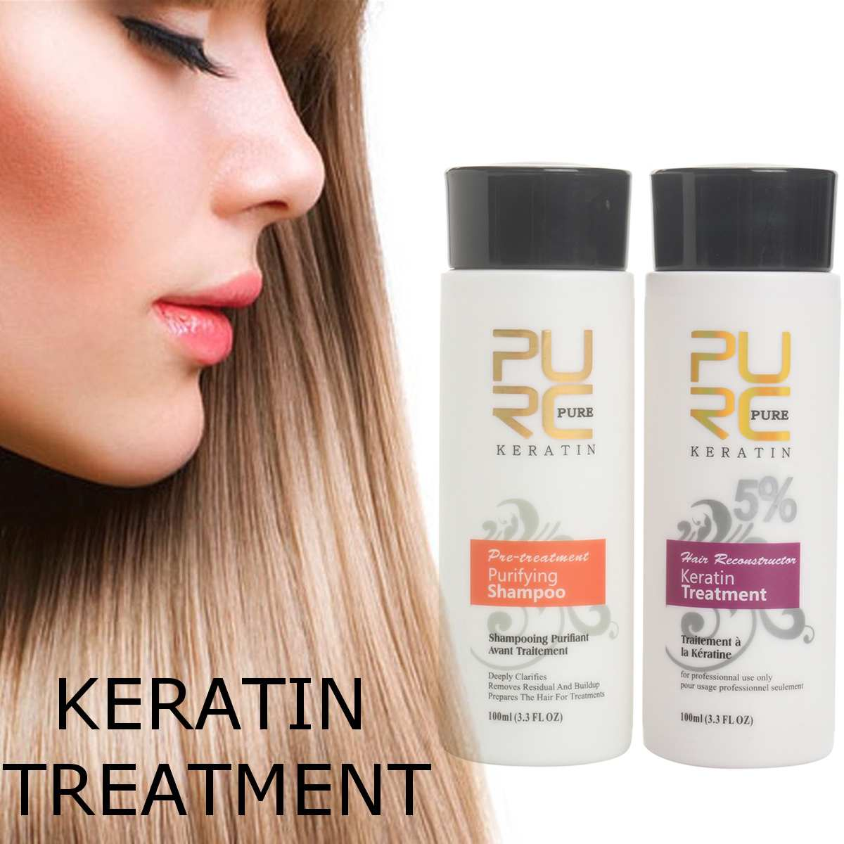 PURC Brazilian keratin hair straighten 100ml x 2 hair care product for Repair damaged hair & straighten hair care keratin