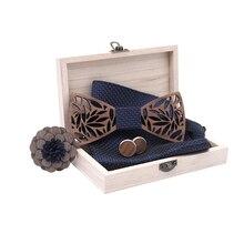 2020 new Wooden Bow Tie Handkerchief Set Men's Bowtie Wood H