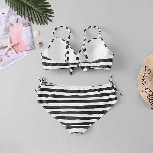 Plus Size Striped High Waisted Bikini 8