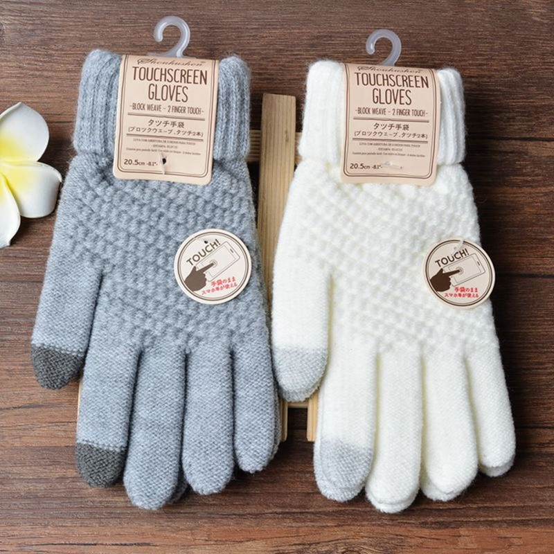 Winter Touch Screen Gloves Men Women  Warm Stretch Knit Mittens Imitation Wool Full Finger Guantes Female Crochet  Thicken