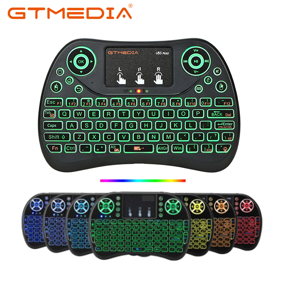 Spanish i8 mini keyboard 3 color backlit i8+ lithium battery backlight Air Mouse Remote Control Touchpad Handheld TV BOX Laptop