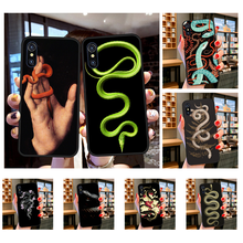 NBDRUICAI Hand Snake Flower Snake Painting Soft Silicone Black Phone Case for iPhone 11 pro XS MAX 8 7 6 6S Plus X 5S SE XR case(China)