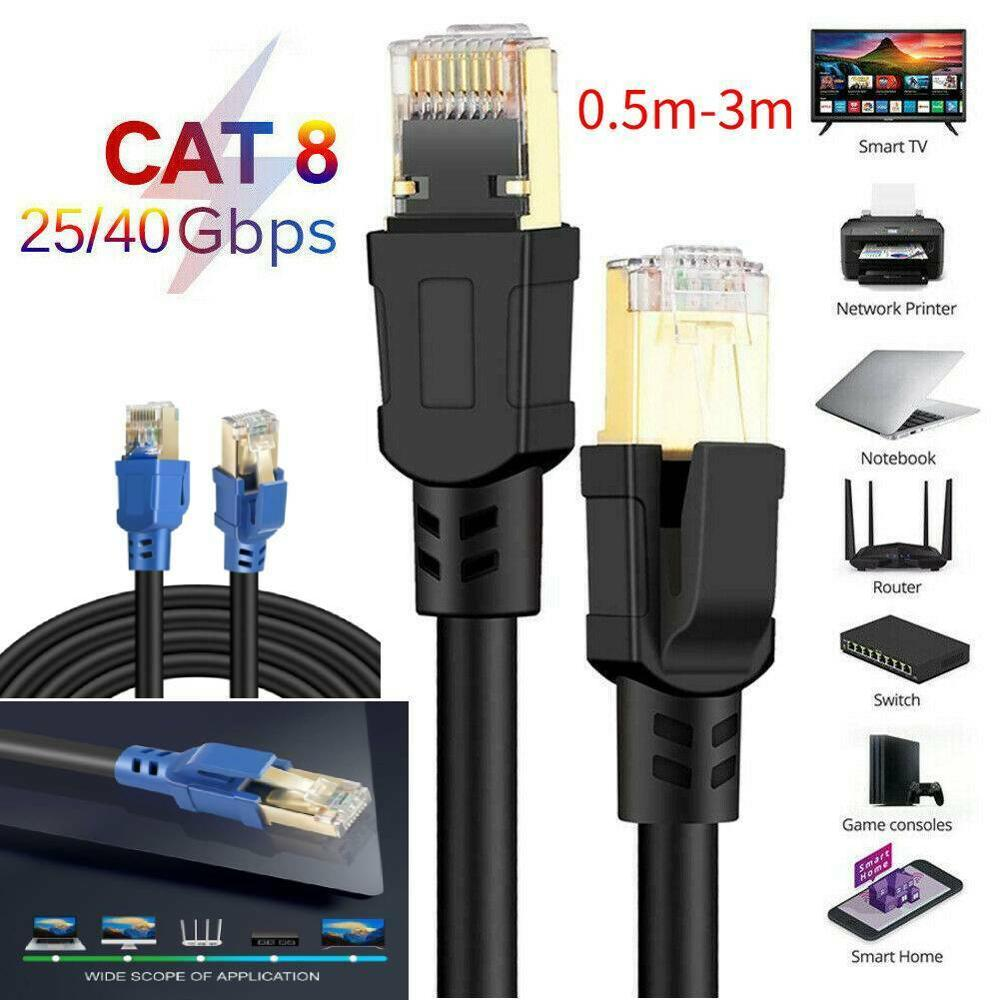 0.5M-2M Cable Cat8 Lan Cable UTP RJ 45 Network For Modem Router Ethernet 2000Mhz For USB HUB Xbox For PC Laptop MacBook Pro 2019