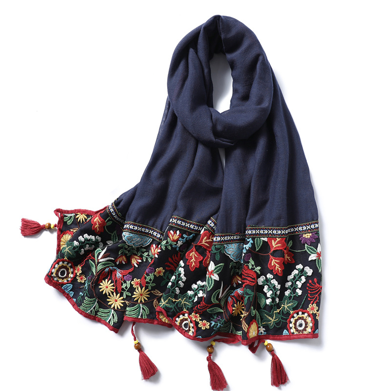 Lace Embroidery Cotton Scarf Women 2019 Vintage Floral Print Shawls And Wraps Solid Tassels Pashmina Lady Foulard Hijab Femme