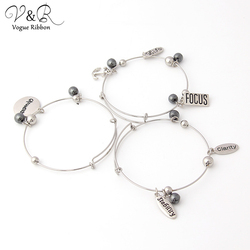 Imitation Rhodium Plated Stretch Bracelet Set 3pcs With Anchor/ Focus/ Clarlty/ Life/ Stability/ beads Alex And Ani Bracelet