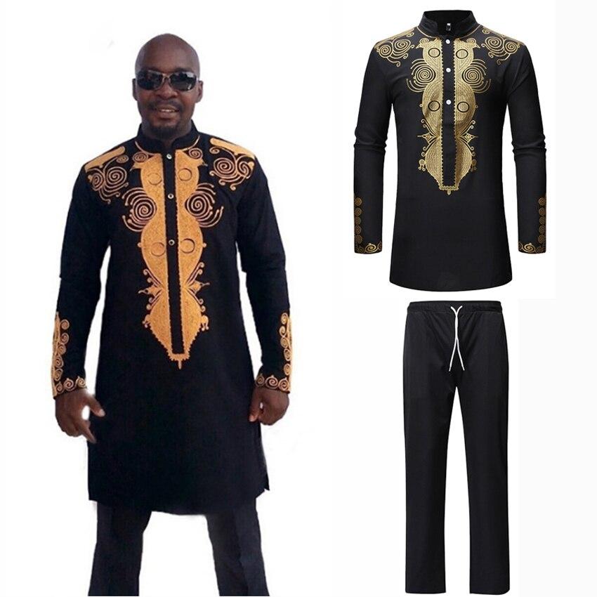 Full Sleeve Luxury Man Shirt Trousers Set 3D Print African Style Hip Hop Street Wear Male Dashiki Shirt Tops Bazin Riche Outfit
