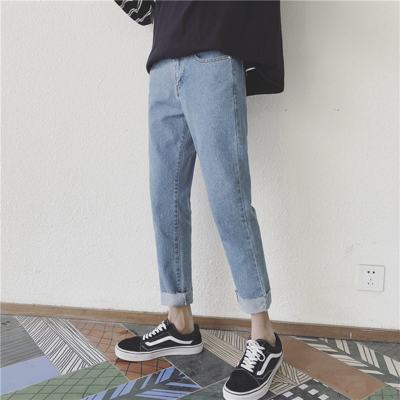 Hong Kong Style Jeans Men's 2019 Autumn New Style Teenager Students Simple Korean-style Solid Color Skinny Capri Pants Fashion M