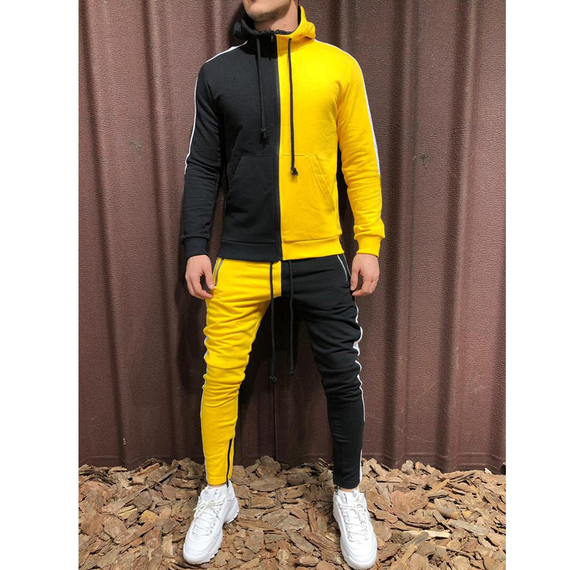 Men's 3-color Zipper With Hat Fitness Outdoor Sports Jogging Running Suit Color Stitching Set