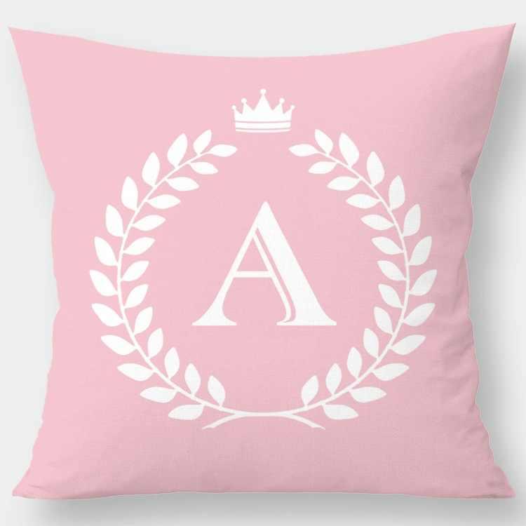 Różowa korona angielski alfabet poszewki na poduszki poliester dekoracyjny różowy poszewka na poduszkę Sofa leżanka poszewka Home Decor