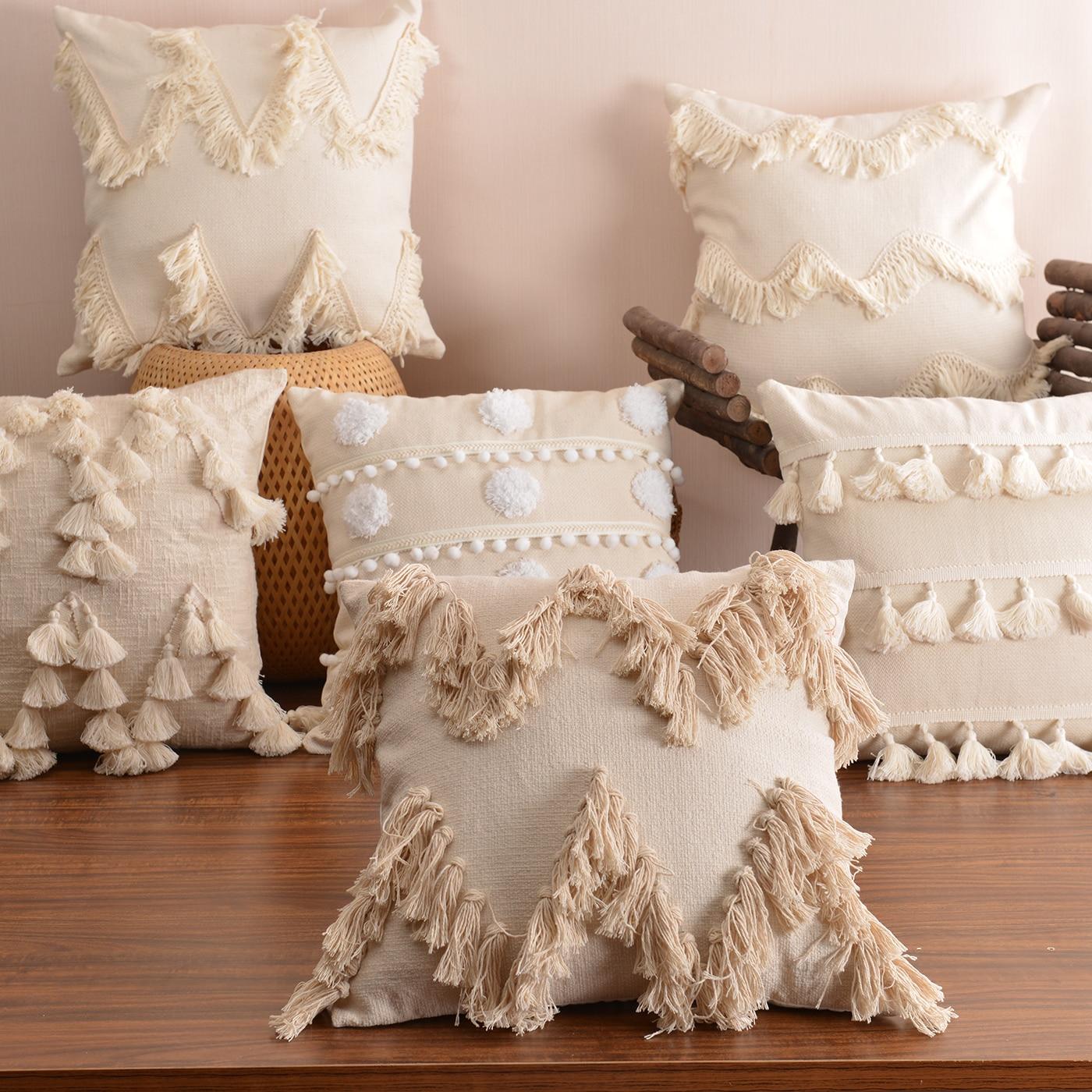 Наволочка в стиле бохо плюшевая с кисточками симпатичная круглая подушка в марокканском стиле Наволочка макраме домашний диван декоративн...