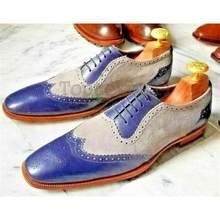 Masculino feito à mão de alta qualidade roxo costura cinza camurça oco laço-up apontou toe de salto baixo moda casual sapatos brogue zq0008
