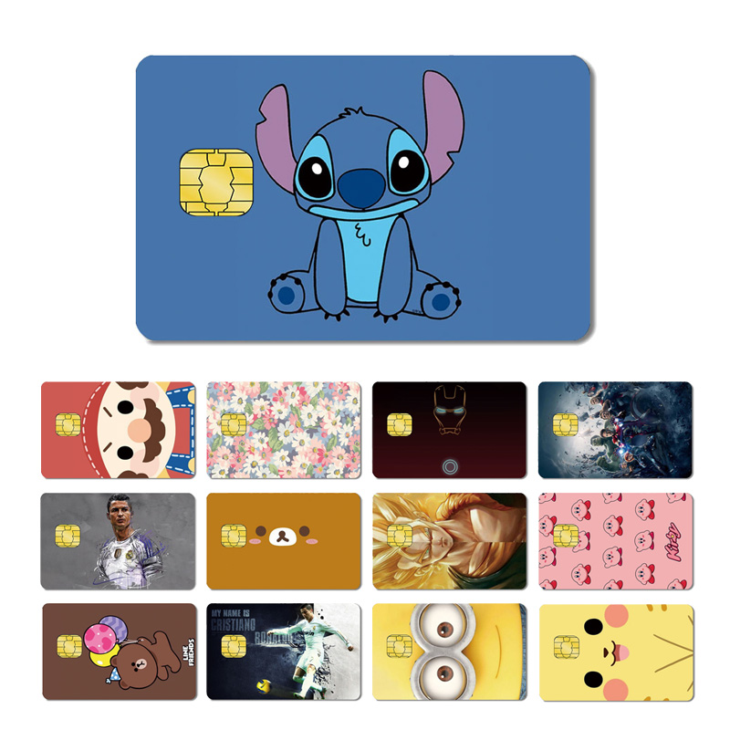 Magic Shark Stereo Pikachu Mario Cute Bear Stitch Dragon Ball Flower Avengers Kirby Minions Sticker Film For Credit Debt Card