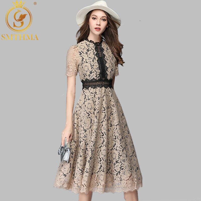 SMTHMA 2019 Women High Quality Luxury Runway New Fashion Elegant Vestidos  Summer Lace Patchwork Long Dress