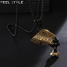 Collar de acero inoxidable con colgantes de Nefertiti para hombre, gargantilla de estilo HIP Hop, reina egipcia antigua, color negro, 316L, joyería de HIP Hop