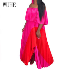 WUHE Summer Bohemian Loose Dress Sexy Sleeveless Off Shoulder Swings Maxi Long Dresses Female Elegant Pleated Holiday Vestidos