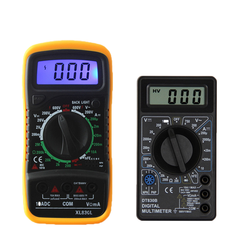 DT830B XL830L AC/DC LCD Digital Multimeter 750/1000V Voltmeter Ammeter Ohm Tester High Safety Handheld Meter Digital Multimeter