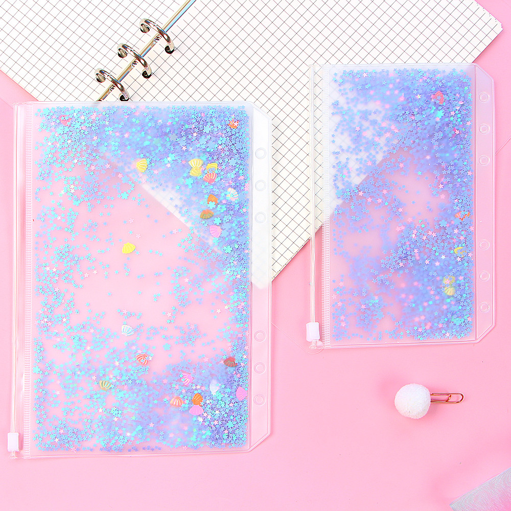 Transparent PVC Storage Card Holder With 6 Hole Zipper Document Bag For A5 A6 Pouch Diary Planner Accessories