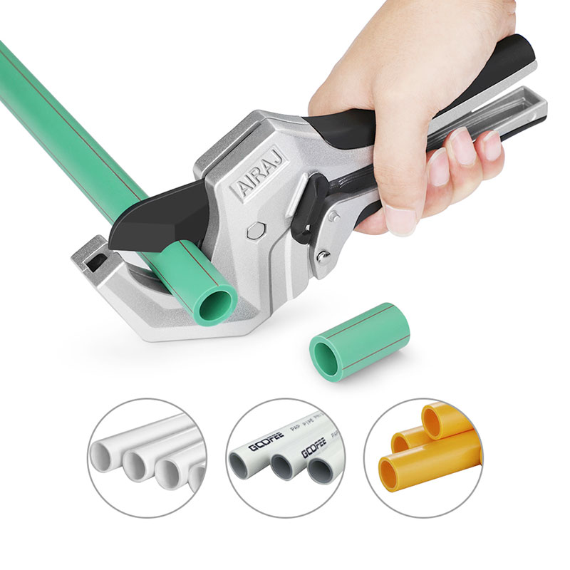 AIRAJ Ratcheting Pipe Cutter One Hand Tubing Cutter for Cutting 1-1/4 inch PVC, PEX, PPR Plastic Hoses Tube Pipe Cutter