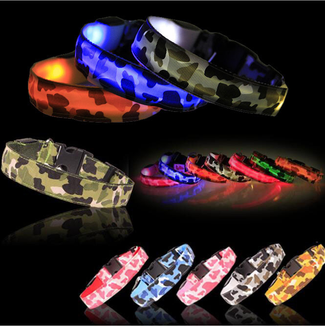 Ali Good Supply Camouflage Pet Supplies Luminous Dog Collar LED Nylon Dog Collar Shipped The Same Day