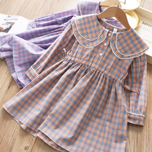 2020 Spring Colored Plaid Dress Pleated Childrens Dress
