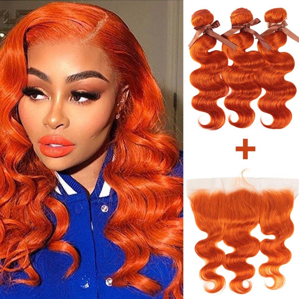 Remy Forte Body Wave Hair Bundles With Closure Blonde Bundles With Frontal Remy Brazilian Hair Weave Bundles 3/4 Orange Bundles