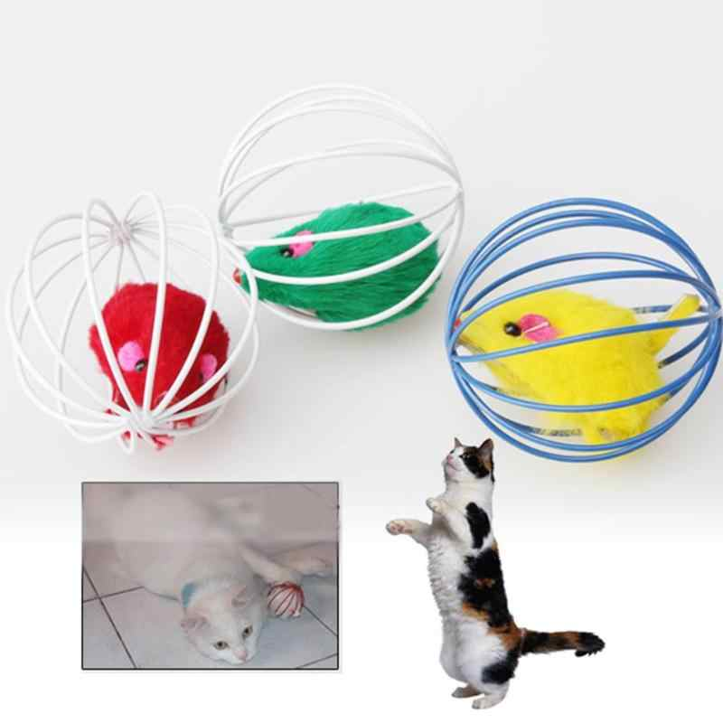 Brinquedos do gato Adorável Mouse De Esfera Pena Engraçado Que Joga Brinquedos para Gatos Ratos Rato Brinquedos Para Animais de Estimação Animais de Brinquedo De Pelúcia Bonito