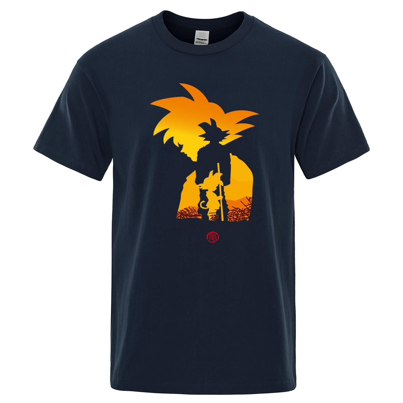 Dragon Ball Z Goku Men's T-shirt Short Sleeve O-Neck Tshirt Summer Cotton Tops Tee Saiyan Harajuku Brand Clothing Men T Shirt