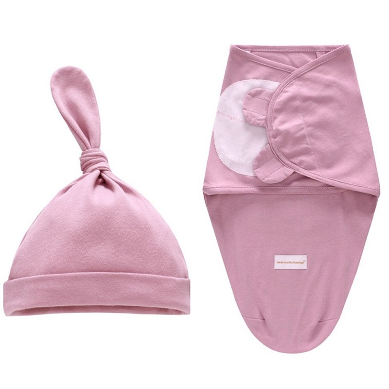 0-6 Months Newborn Wrapping Swaddle Anti-shock Baby Envelop Wrap Blanket Baby Hat Sleeping Bag Set KF669 | Happy Baby Mama