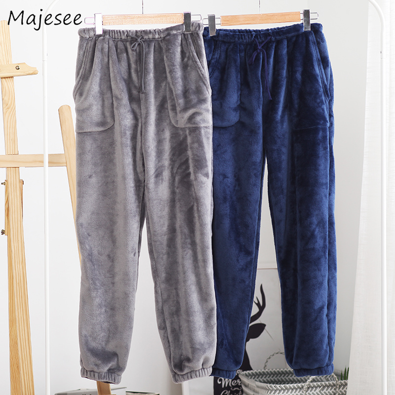 Sleep Bottoms Men 2020 Solid Simple All-match Winter Thicker Plus Velvet Warm Pockets Leisure Flannel Soft Mens Drawstring Chic