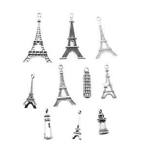 10 шт./лот, подвески с Эйфелевой башней, античные серебряные подвески с Эйфелевой башней, Подвески для изготовления ювелирных изделий