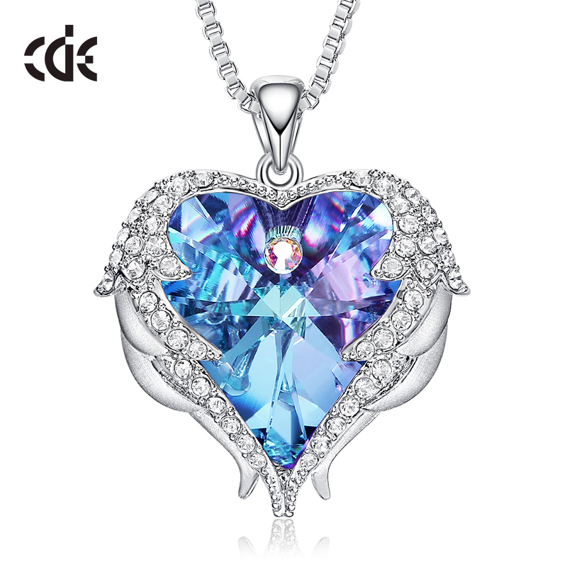 CDE Women Silver Color Necklace Embellished with Crystals from Swarovski Necklace Angel Wings Heart Pendant Valentines Gift(China)