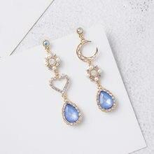 Pendientes colgantes largos con borlas de cristal azul para mujer, joyería con diamantes de imitación, corazón de amor, Pendientes colgantes de Luna, joyería