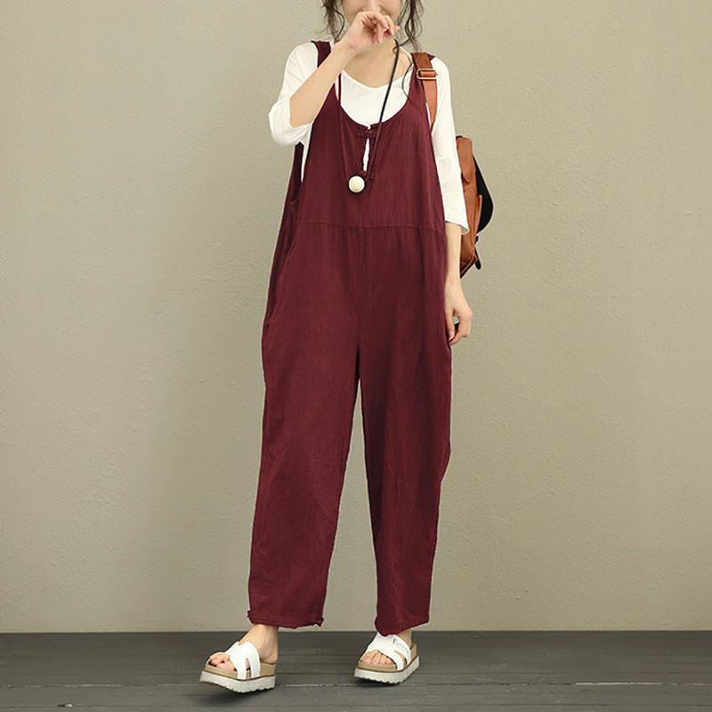 Casual Jumpsuit Ladies Casual Loose Linen Cotton Jumpsuit Suspenders Trousers Women Fashion Casual Belt Sleeveless Harem Overall