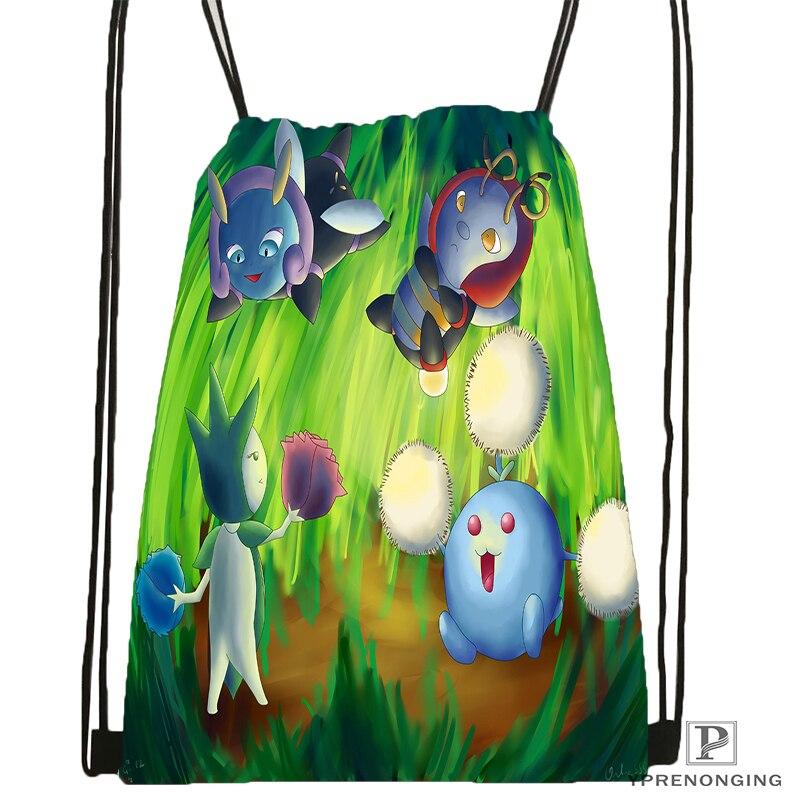 Custom Pokemon Pikachu Style Drawstring Backpack Bag Cute Daypack Kids Satchel (Black Back) 31x40cm#180531-02-09
