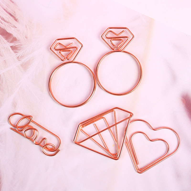 1555 Rose Gold Hand Account Shaped Paper Clips Organizing Bookmark Heart Book Envelope Diamond Ring GIRL'S Brooch