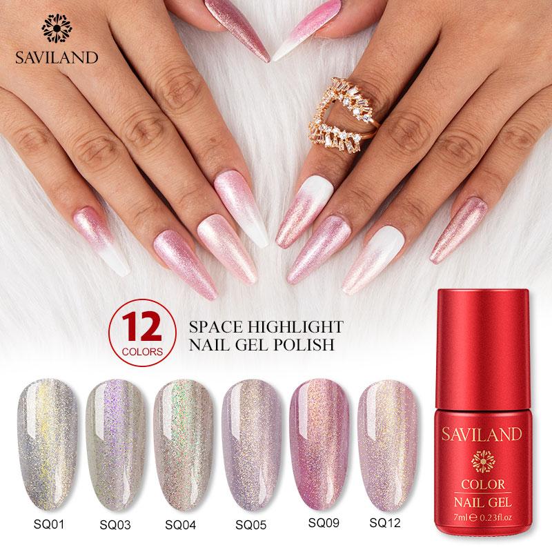 SAVILAND 7ML Superfine Platinum Sparkle Gel Diamond Nail Gel Gold Series Glitter Highlight Soak Off UV Gel Nail Polish Lacquer