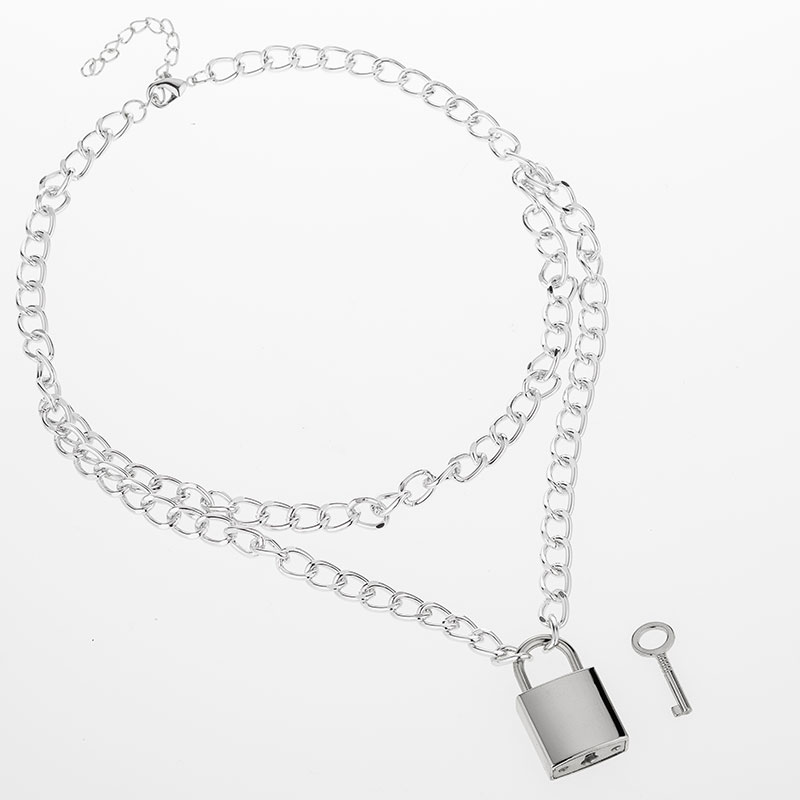 Hc352ea00240c4051b0a49fd046841019n - KMVEXO Multilayer Lock Chain Necklace Punk Padlock Key Pendant Necklace Women Girl Fashion Gothic Party Jewelry