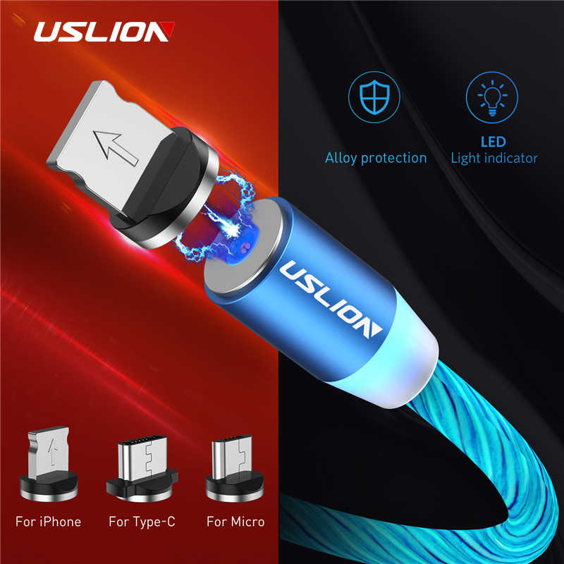 USLION LED Luminous Magnetic USB Cable for iPhone Huawei Samsung USB Type C Cable & Micro USB Phone Charger Flowing Light Cable