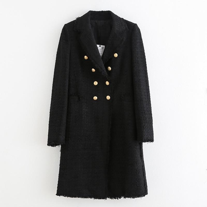Women Fashion Double Breasted Tweed Dress Style Jackets Elegant Ladies Turn Down Collar Long Sleeve Coats