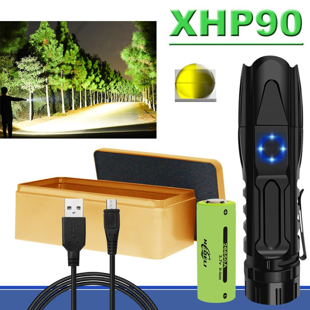 Most Powerful XHP90 LED Flashlight XHP70 XHP50 Tactical Waterproof Zoom Torch Mini Hunting Flashlight Use18650 Or 26650 Battery