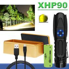 가장 강력한 XHP90 LED 손전등 XHP70 XHP50 전술 방수 줌 토치 미니 사냥 손전등 use18650 또는 26650 배터리